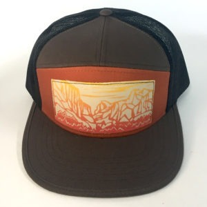 Front view of Brown 7 Panel Yosemite Print hat