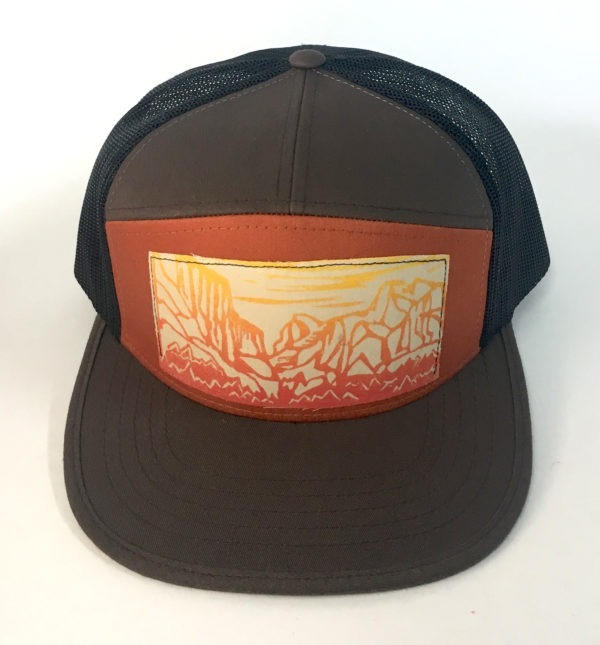 Front view of Brown 7 Panel Yosemite Print hat