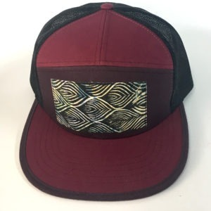 Front View of Berry Red and Purple 7 Panel Movement Print Hat