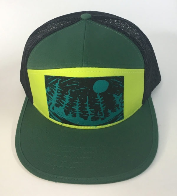 Front view of Green 7 Panel NW Night Print hat