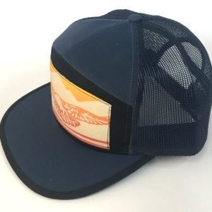 Side view of Navy Blue and Black 7 Panel Soaring Eagle print hat